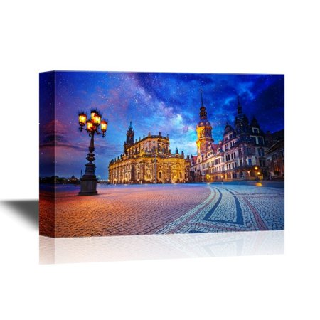 wall26 Canvas Wall Art - Dresden Image of Dresden, Germany During Twilight Blue Hour - Gallery Wrap Modern Home Decor | Ready to Hang - 12x18 (Best 3d Images Gallery)