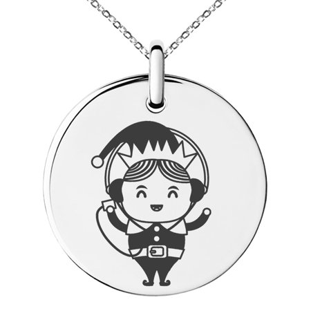Stainless Steel Music Elf Engraved Small Medallion Circle Charm Pendant Necklace - Elf Jewelry