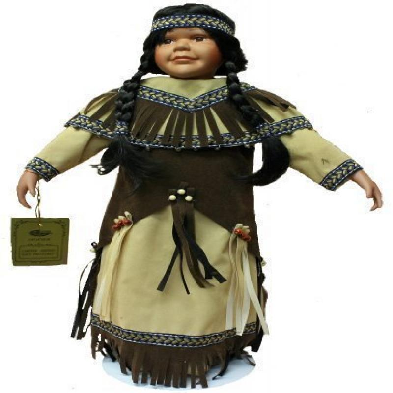 Native American Porcelain Doll 22 Inches with Braids, Tra...