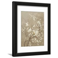White Cherry Blossom I Neutral Crop Bird Framed Print Wall Art By Danhui Nai