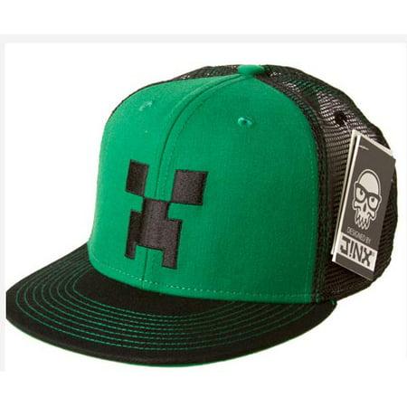 bf75591252c Minecraft - Creeper Face Premium Snap Back Hat Green Black - Walmart.com