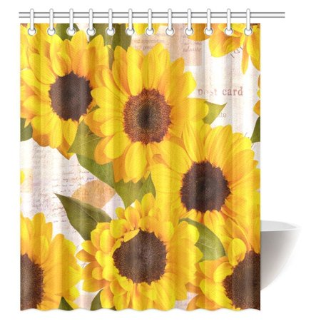 MYPOP Sunflower Shower Curtain Vintage Rustic Looking