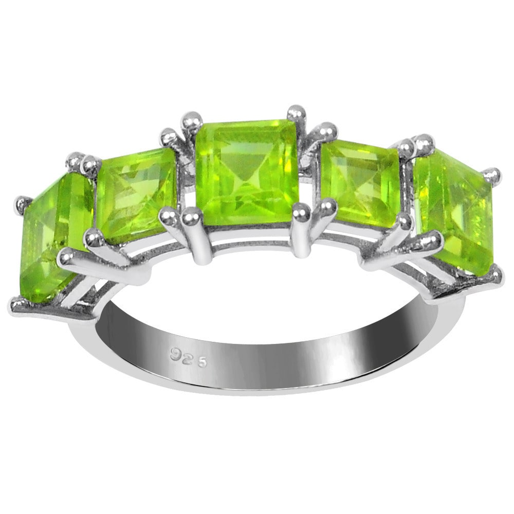 Orchid Jewelry Sterling Silver 2 5/8ct Square-cut Peridot Gemstone Ring 7.0