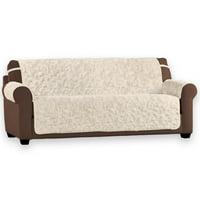 Plush Faux Fur Reversible Furniture Protector Cover, Microfiber Fabric Reverse Side, Sofa, Chocolate
