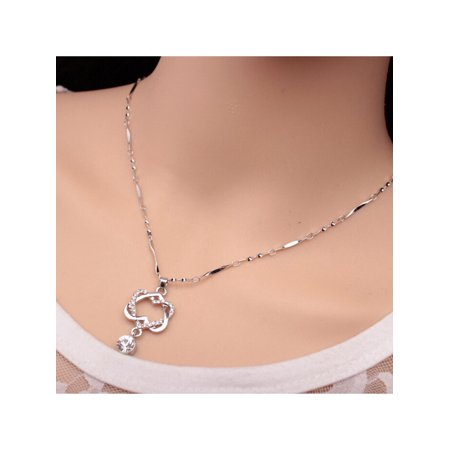 Christmas Clearance! 1Pcs Women Alloy Pendant Necklace Resin Rhinestone Decor Link Chain Fashion Charming Jewelry SMT