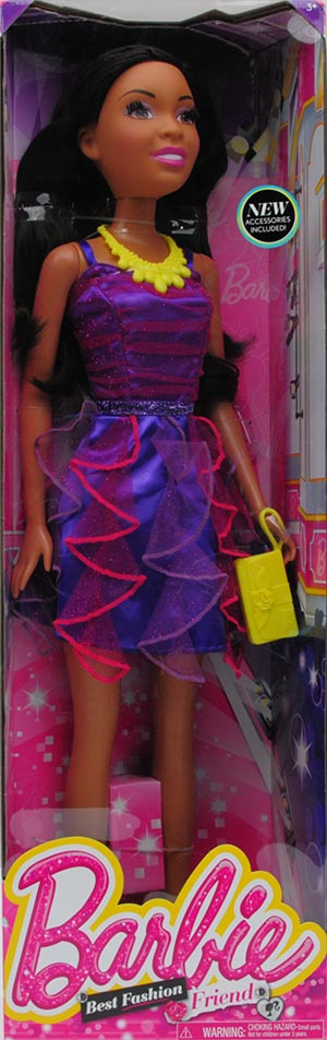 "Barbie 28"" Best Fashion Friend Doll Black Hair by Just Play"