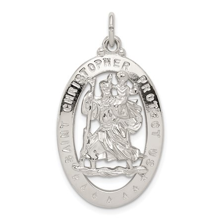 925 Sterling Silver Saint Christopher Medal Pendant Charm Necklace Religious Patron St Fine Jewelry Gifts For Women For Her - image 6 de 6