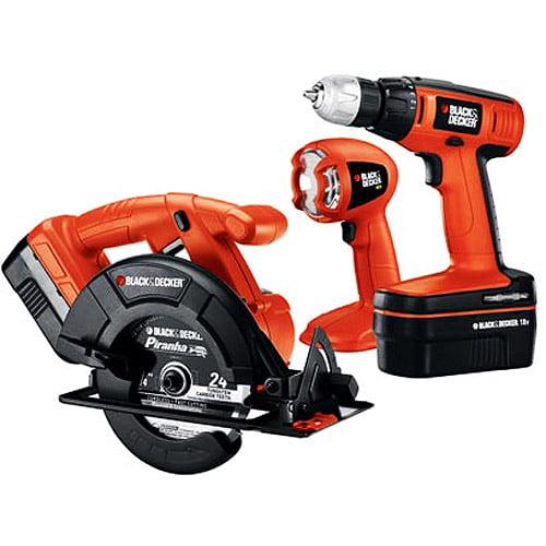 Black & Decker 18V 3 Tool Combo Kit, Drill/Driver, Circular Saw and Flashlight