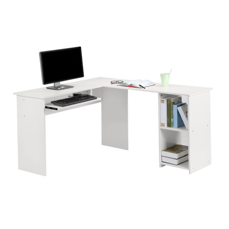 Large L-Shaped Computer Desk with Mute Sliding Keyboard Tray and 2-Bookshelf Corner Table for Home Office Workstation,