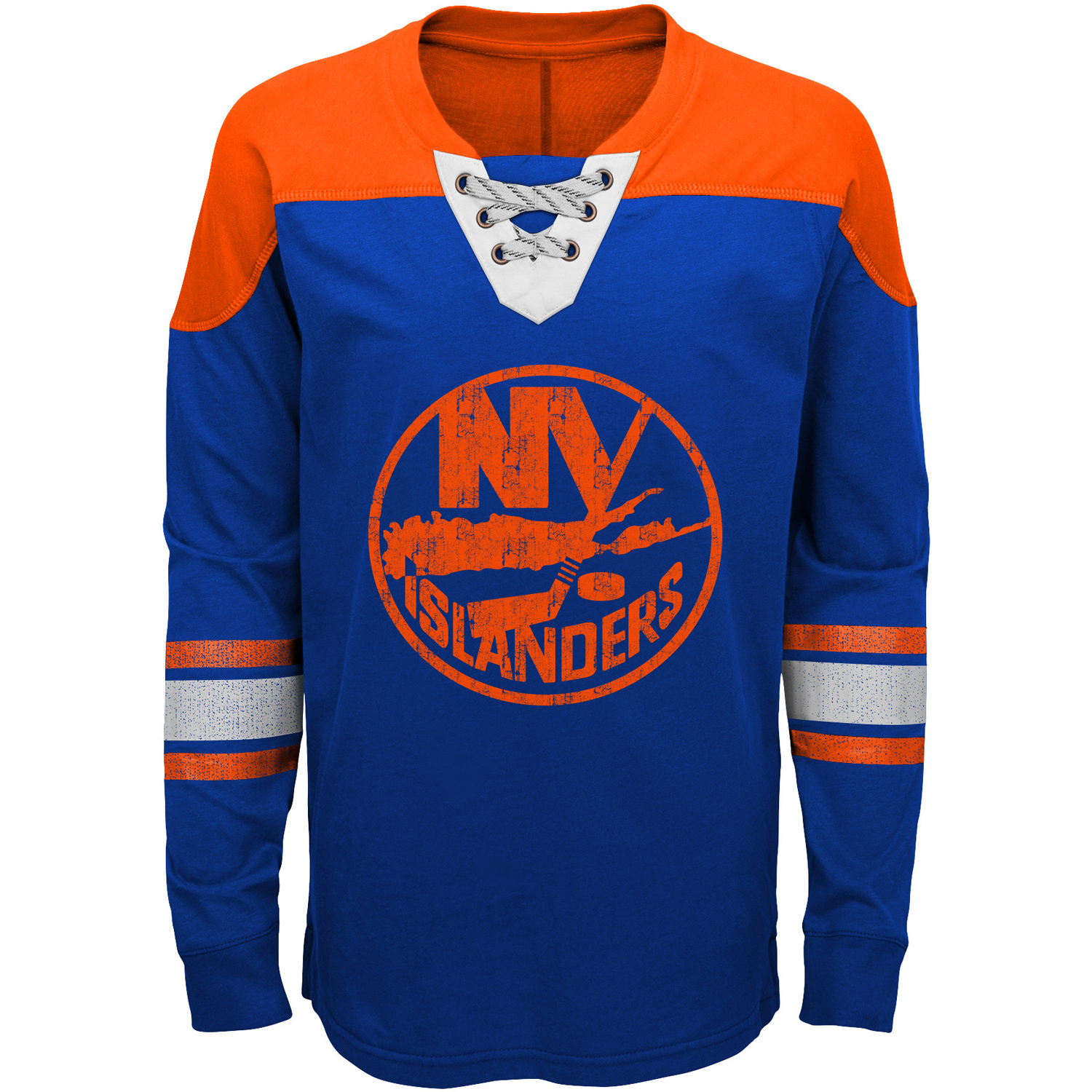 New York Islanders Youth Perennial Hockey Lace-Up Crew Sweatshirt Blue Orange by Outerstuff