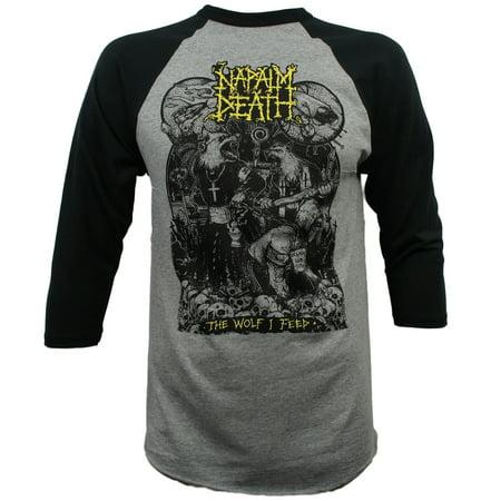 NAPALM DEATH Band Wolf I Feed Werewolf Baseball T-Shirt S-2XL NEW - Werewolf Fur