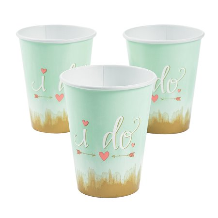 Fun Express - I Do Mint 12oz Cups (8pc) for Wedding - Party Supplies - Licensed Tableware - Licensed Plates & Bowls - Wedding - 8 Pieces - Plates And Cups For Wedding