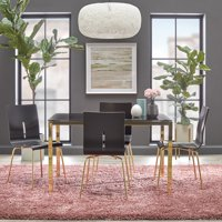 TMS Piers Glass Dining Set, Black