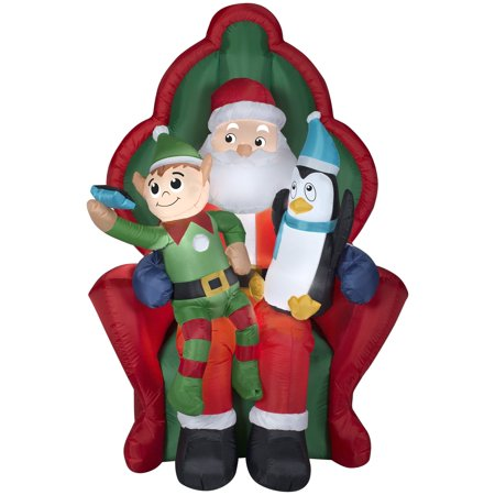 6' Airblown Santa w/ Elf and Penguin Christmas Inflatable - Inflatable Christmas Tree