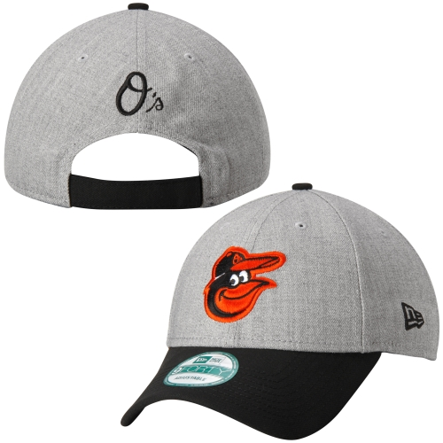 Baltimore Orioles New Era Heathered 9FORTY Adjustable Hat - Heather Gray - OSFA