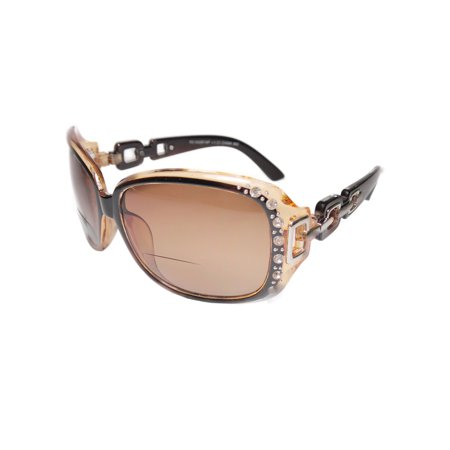 Womens Bifocal Lens Sunglasses Rhinestone Oversized Square Frame Brown +2.50