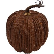 "8.5"" Glitter Brown Pumpkin Decoration"