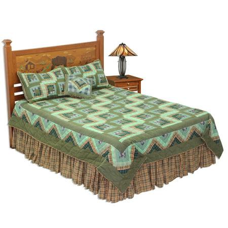 Green Log Cabin King Quilt 105