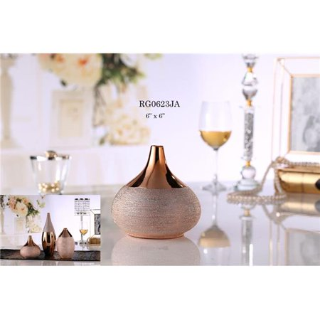 Amazing Rugs Bellied Decorative Vases with Polished Bronze Finish & Textured Accents Bronze Finish Decorative Accents