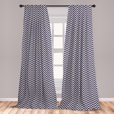 Navy Blue Curtains 2 Panels Set, Vertical Chevron Zig Zag Stripes Pattern in Classical Maritime Colors Retro, Window Drapes for Living Room Bedroom, Navy Blue White, by Ambesonne ()
