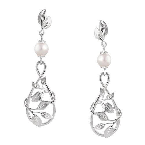 14K White Gold Vine Teardrop White Freshwater Cultured Pearl Dangle Earrings