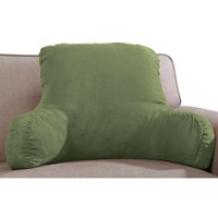 """Miles Kimball Backrest Pillow with Firm Support Arms, 20"""" x 31"""" x 14"""" – Faux Suede Polyester Brown Fabric with Dense Foam Interior for Proper Back Support, Size Fits Adults or Children"""
