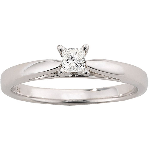 Always & Forever Platinaire 1/5 Carat Diamond Princess Solitaire  Engagement Ring