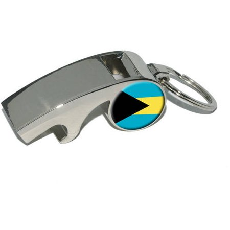 Bahamas Flag, Plated Metal Whistle Bottle Opener Keychain Key Ring