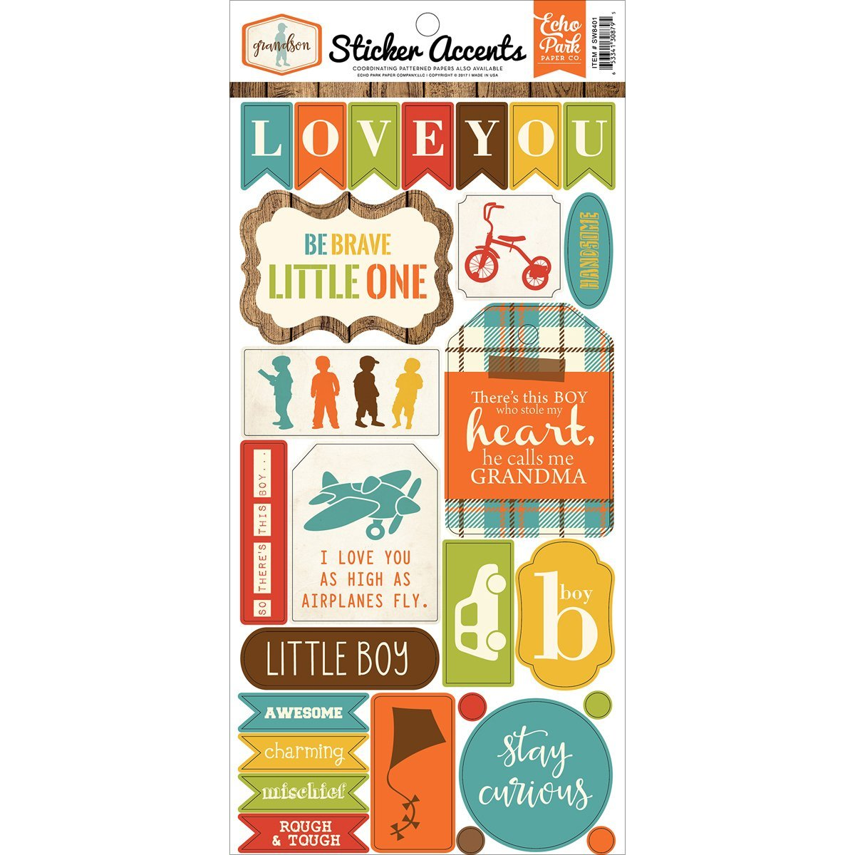 Sticker SHeet Echo Park, One 6x13 sHeet of cardstock stickers By Grandson by