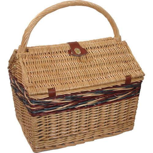 Sutherland Baskets Farmhouse Picnic Basket in Blue Plaid