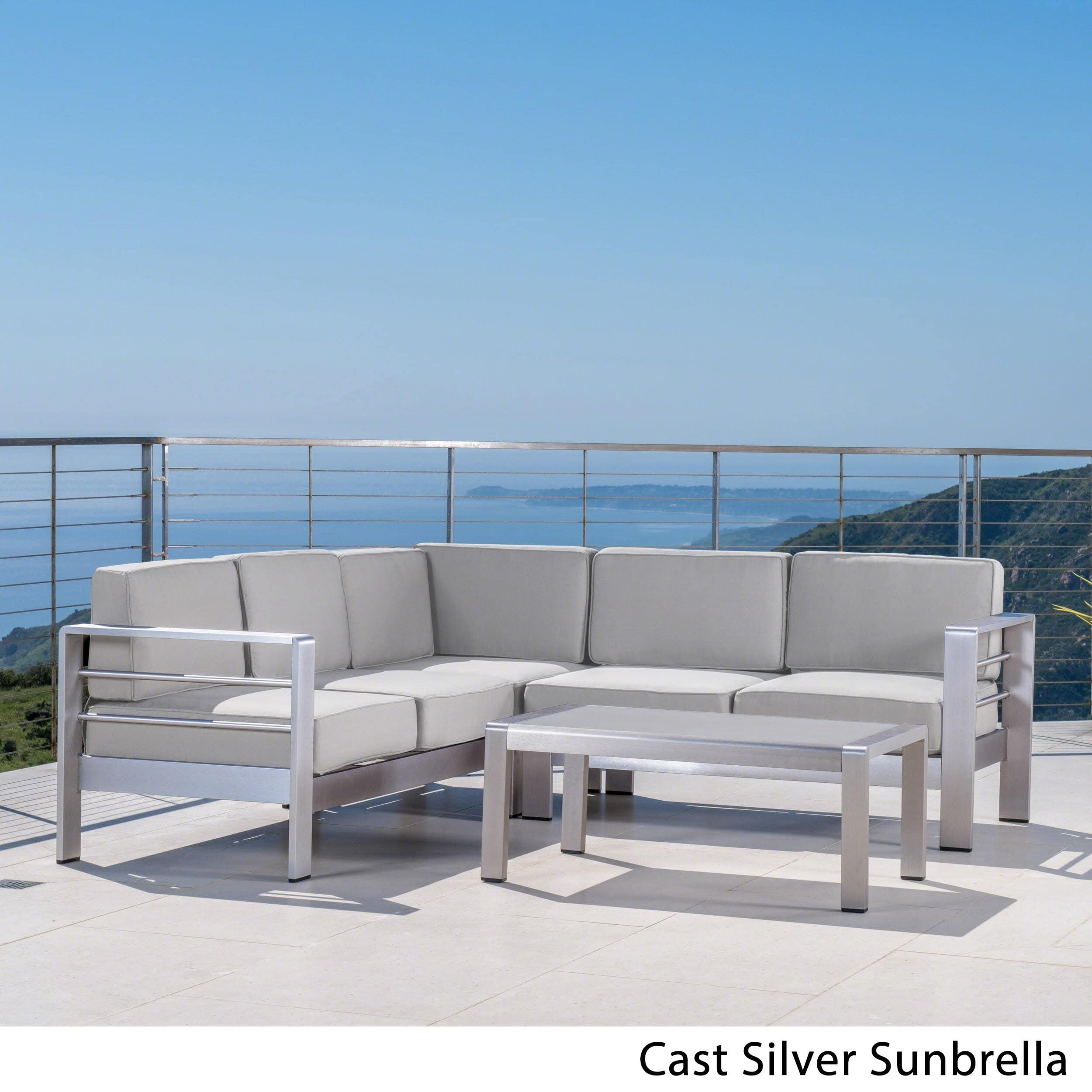 Christopher Knight Home Cape Coral Outdoor Aluminum 4-piece Sofa Set with Cushions (Optional Sunbrella) by