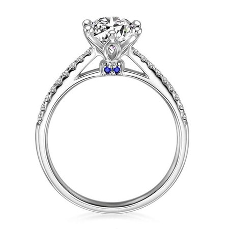 Cubic Zirconia Solitaire Ring - Ginger Lyne Collection Merci Sterling Silver 7mm Solitaire Blue Accent CZ Engagement Wedding Bridal Ring