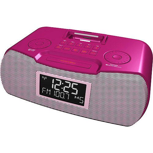 Sangean AM/FM-RDS Atomic Clock Radio With iPod Dock, Pink