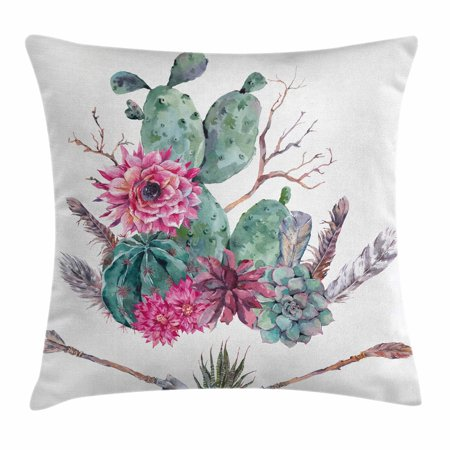 (Cactus Decor Throw Pillow Cushion Cover, Exotic Natural Vintage Watercolor Bouquet Bohemian Arizona Vegetation, Decorative Square Accent Pillow Case, 16 X 16 Inches, Green Pink Brown, by Ambesonne)