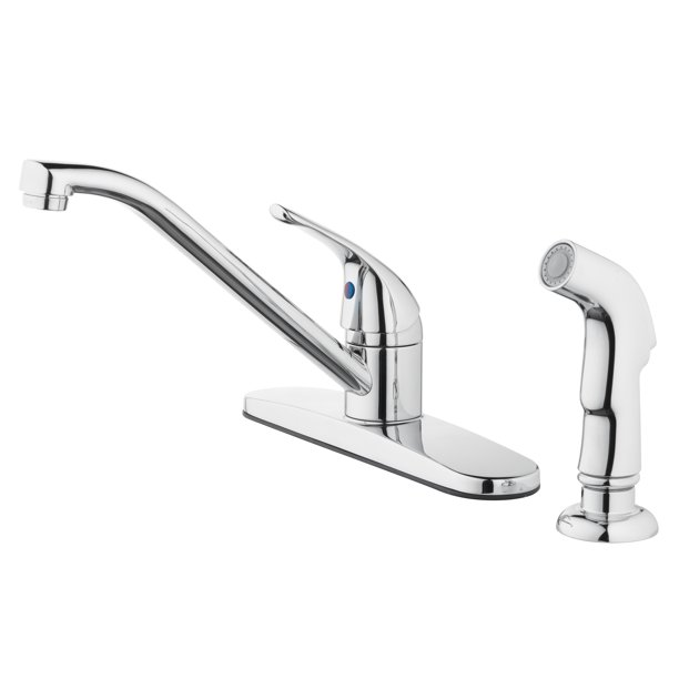 mainstays 8 widespread single handle kitchen faucet with side spray chrome