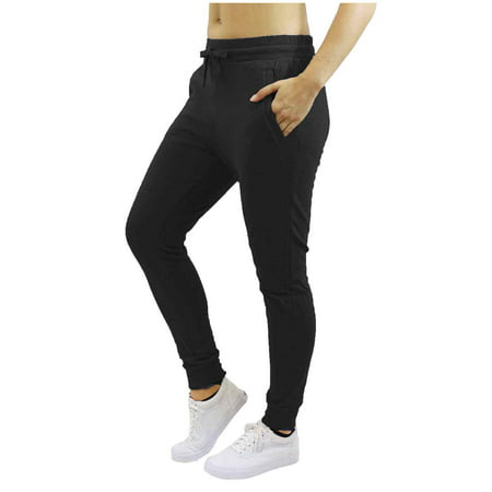 Womens Fleece Jogger Sweatpants With Zipper Pockets - SLIM FIT