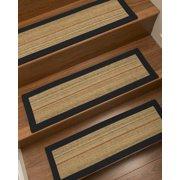 "Natural Area Rugs ""Resort"" Sisal Brown/Multi, Custom Stair Treads (9"" x 29"") Set of 13, Black Border"