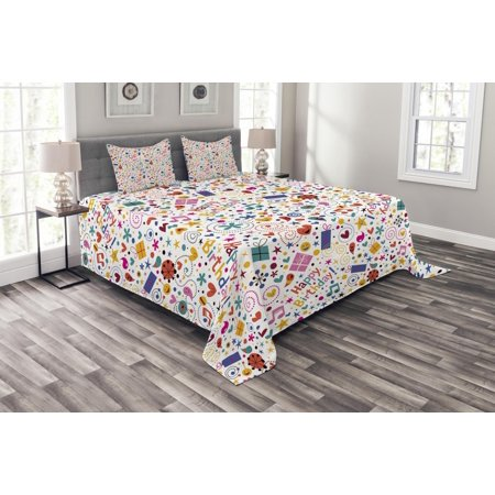 Quilted Heart Box (Birthday Bedspread Set, Dotted Spirals Stars Hearts Musical Notes Surprise Present Boxes Pattern Smiling, Decorative Quilted Coverlet Set with Pillow Shams Included, Multicolor, by Ambesonne )