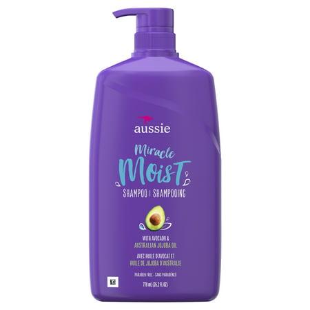 Aussie Paraben-Free Miracle Moist Shampoo w/ Avocado & Jojoba Oil For Dry Hair, 26.2 fl oz