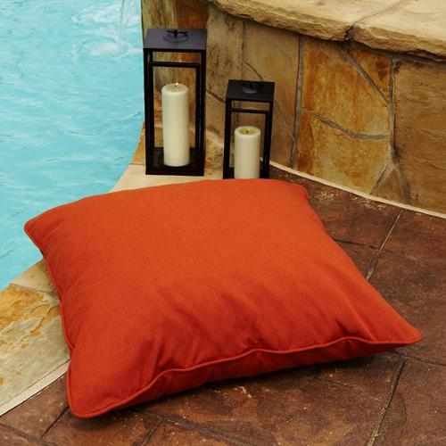Clara Indoor/ Outdoor 28-inch Square Sunbrella Floor Pillow Cocoa Stripe
