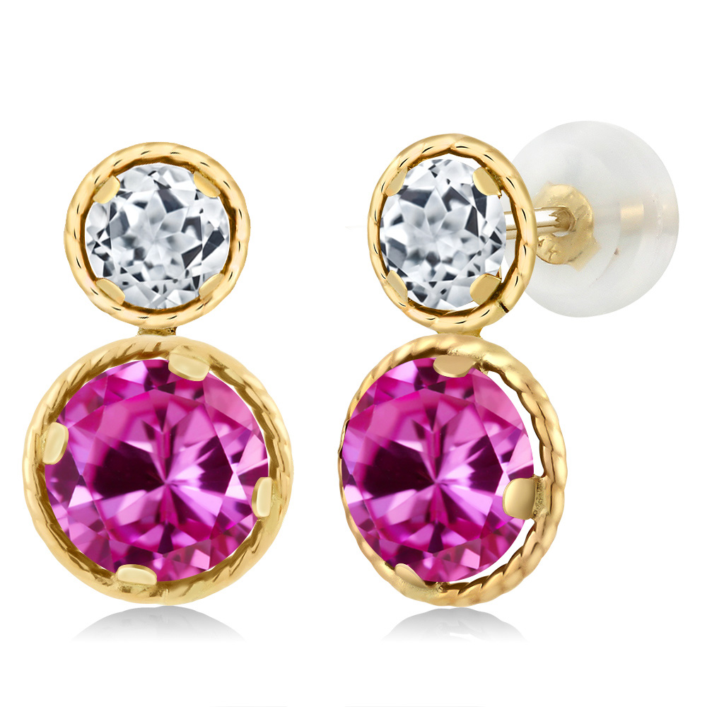 4.52 Ct Round Pink Created Sapphire White Topaz 14K Yellow Gold Earrings by