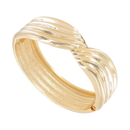 Gold Tone Metal Twisted Ribbed Design Chunky Clamp Hinged Bracelet