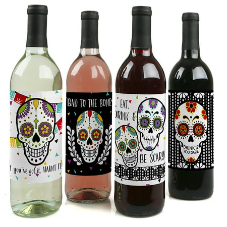 Day Of The Dead - Halloween Sugar Skull Party Decorations for Women and Men - Wine Bottle Label Stickers - Set of 4
