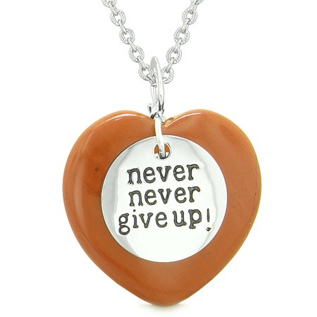 Red Jasper Heart Necklace - Amulet Never Give Up Inspirational Puffy Magic Lucky Heart Charm Red Jasper Pendant 18 inch Necklace