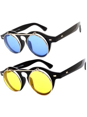 82a194aa88e4 Product Image Flip Up Steampunk Vintage Retro Round Circle Gothic Hippie  Colored Plastic Frame Sunglasses Colored Lens OWL