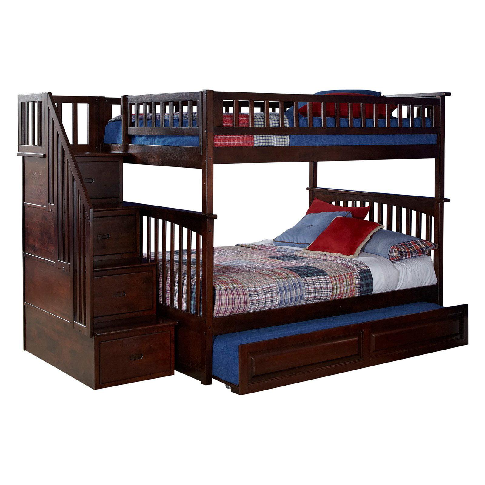 Atlantic Furniture Columbia Staircase Full Over Full Bunk Bed   Walmart.com