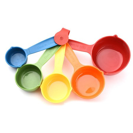 5 Pcs/Set Colorful Plastic Kitchen Measuring Cups Ergonomic Handle Sugar Cake Baking Spoon Household Measuring Scoop - image 1 de 4