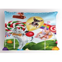 Kids Pillow Sham Colorful Fantasy Land Rainbow Candy Trees Cat Dog Fairy Girl Boy Flying in Suitcase, Decorative Standard Size Printed Pillowcase, 26 X 20 Inches, Multicolor, by Ambesonne