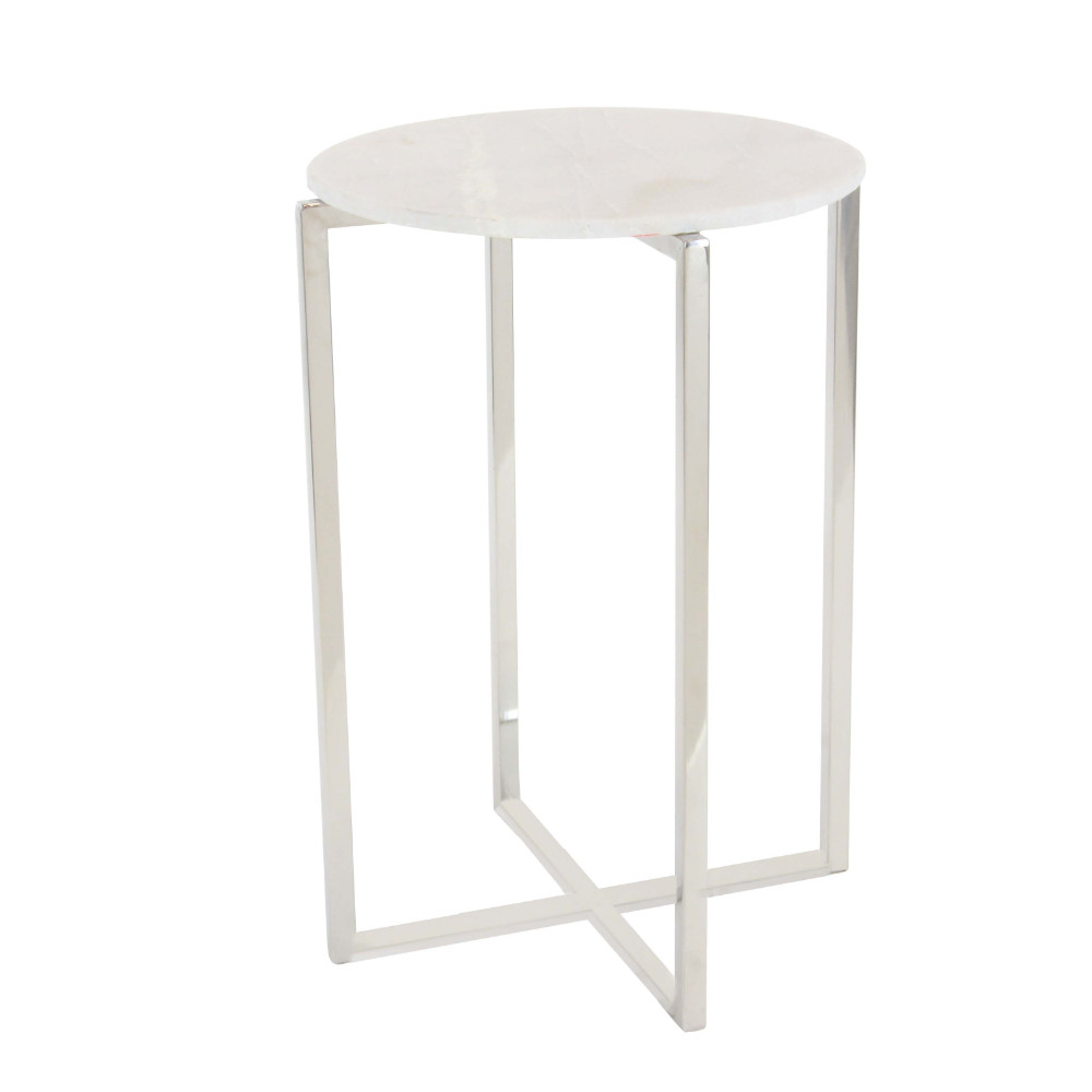 Decmode Modern 25 x 16 inch round stainless steel and marble accent table, White by GwG Outlet
