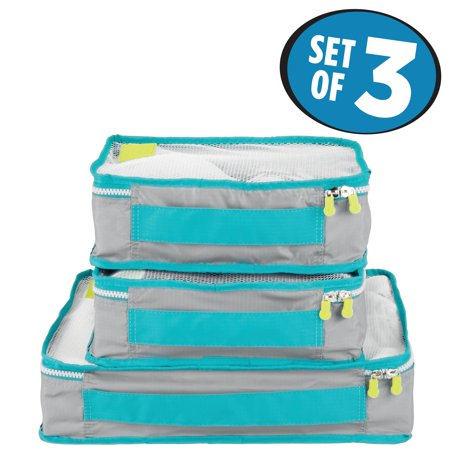InterDesign Water Resistant Travel Packing Cubes, Gray/Teal (Set of 3)